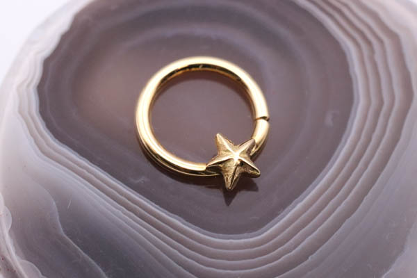 Handmade 18ct gold Nautical Star Seam-Ring
